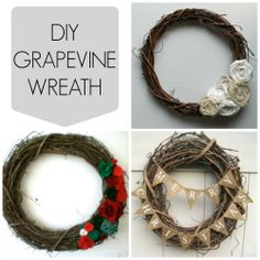 create a grape vine wreath as a base and decorate it with a series of accessories, ribbons, balls, flowers, bows, glitter & spray paint.