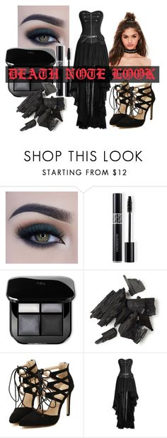 Death Note Set by silentkilldesire on Polyvore featuring moda, Missguided, Too Faced Cosmetics and Christian Dior