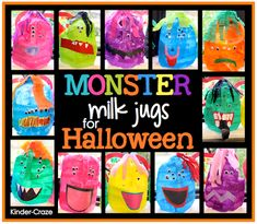monster milk jugs for halloween treats. Have students write a story about their monster to assess writing while making it fun. Theme Halloween, Halloween Crafts For Kids, Halloween Activities, Fall Halloween, Holiday Crafts, Holiday Fun, Monster Activities, Fall Crafts, Halloween Ideas