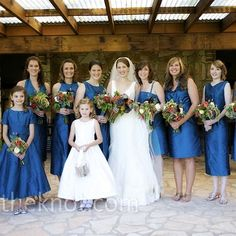 Blue bridesmaid dresses. Different styles same colour