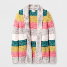 Girls' Long Sleeve Striped Cardigan - Cat & Jack XL, Multicolored