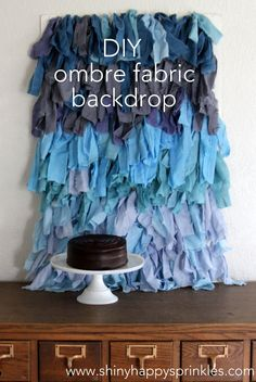 how to make an ombre fabric party backdrop by shiny happy sprinkles #photography #backdrop #ideas