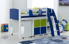Scallywag Exclusive Mid Sleeper Cabin Bed  Including Tuckaway Desk, Quad & Duo Shelf Units, Hook on Shelf. 8 colour options. Narrow shorty available for box rooms. Made in UK
