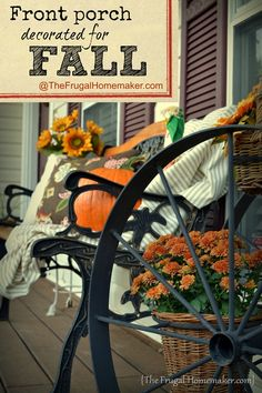 Front porch decorated for FALL via TheFrugalHomemaker.com