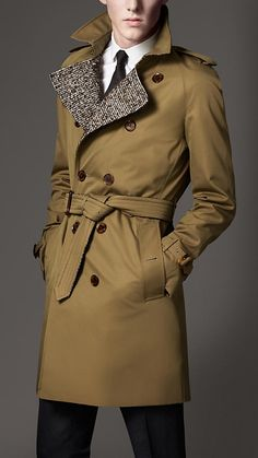 Burberry London Mid-Length Cotton Gabardine Wool Lined Trench Coat