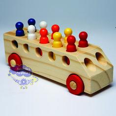 Ônibus, ônibus GR Brinquedos, GR Brinquedos, ônibus de madeira com pinos, ônibus…