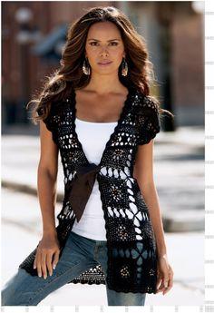 Chorrilho de ideias: Casaco manga curta quadrados crochet com esquema