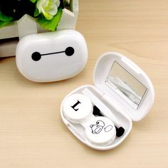 Baymax Cosmetic Contact lens case with mirror colored contact lens case cute Lovely Travel box Eyewear Accessories Contact Lens Cases, Cosmetic Contact Lenses, Coloured Contact Lenses, Punk Disney Princesses, Princess Disney, Home Beauty Salon, 17 Kpop, Travel Box, Baymax