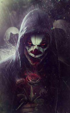 Clowns n roses Clown Horror, Creepy Clown, Creepy Art, Horror Art, Joker Iphone Wallpaper, Graffiti Wallpaper, Joker Wallpapers, Hipster Wallpaper, Joker Images