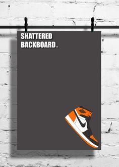 timeless design 61b0e e066b Nike Air Jordan 1 Shattered Backboard Poster – 1985 – Sneaker Poster – A4 -  A3
