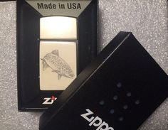 Zippo Slim Lighter with Scrimshaw of Brown Trout by scrimshaw