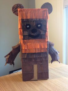 Lego Wicket piñata I made for Katie's birthday party! It's amazing what you can do with a box, streamers, pipe cleaners, toilet paper rolls and a little glue :) Valentine Day Boxes, Valentines For Kids, Valentine Day Crafts, Valentine Stuff, Valentine Ideas, Star Wars Birthday, Star Wars Party, Birthday Fun, Anniversaire Star Wars