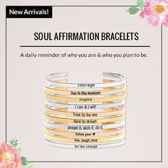 Introducing our new Stackable Affirmation Bracelets! www.lilyannedesigns.com.au/shop/bracelets A daily reminder of who you are & who you plan to be. #LilyAnneDesigns #NewProducts #SoulAffirmationBracelets #PersonalisedJewellery