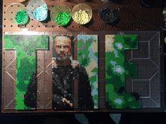 Unbelievably awesome perler bead portraits in lettering of #The_Walking_Dead by @bgkayz