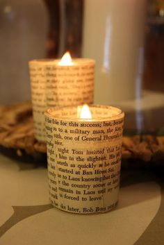 Votive candle idea using vintage paper and glass votive holders. #voitves #candleholder #diy
