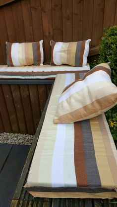 Garden cushions made from a Moroccan blanket.