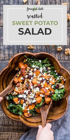 Fried sweet potatoes are served in a salad with kale, dried cranberries, walnuts. - Fried sweet potatoes are served in a salad with kale, dried cranberries, walnuts … – Fried swe - Best Salad Recipes, Vegetarian Recipes, Cooking Recipes, Recipes With Kale, Cooking Bacon, Crockpot Recipes, Green Salad Recipes, Veggie Salads Recipes, Veggie Heavy Recipes