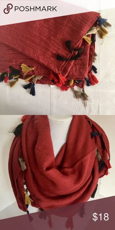 """Red Tassel Scarf Wear this cute scarf year round 😍. 50%cotton and 50% polyester. Measures 35x71"""". If you have any questions let me know. No offers. Bundle and save! OnLo Boutique Accessories Scarves & Wraps"""
