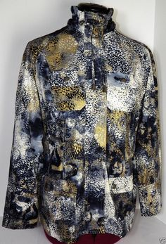 Women's Chicos Zenergy Zip Up Jacket Size 0 (4) XS Animal Print Gold Blue White #Chicos #Zenergy