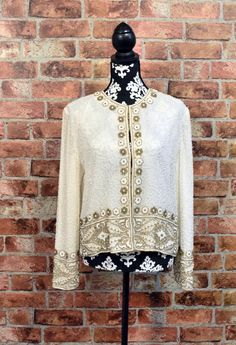 Vintage 80s SCALA Pure White Silk GOLD Beaded Sequined Long Sleeves Cardigan Jacket by LuoLuv