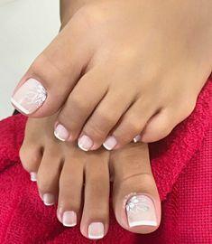 Pretty Toe Nails, Cute Toe Nails, Gel Nails, Toe Nail Color, Toe Nail Art, Nail Colors, Wedding Toe Nails, Wedding Toes, French Toe Nails