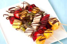 Frozen Fruit Skewers with Chocolate Drizzle! These would be terrific on a hot summer day! Serves 6.