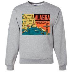 Vintage State Sticker Alaska Crewneck Sweatshirt