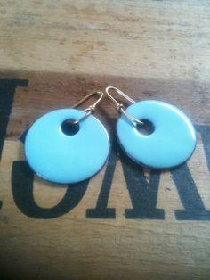 Blue Copper Enamel Earrings by YMBlueOriginals on Etsy, $24.00