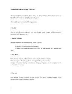 interior design contract templates