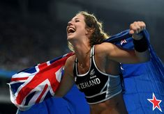 Eliza Mccartney of New Zealand celebrates winning bronze in the Women's Pole Vault Final on Day 14 of the Rio 2016 Olympic Games at the Olympic Stadium on August 19, 2016 in Rio de Janeiro, Brazil.
