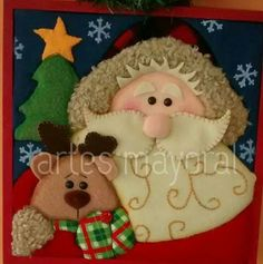 Cojin Christmas Crafts, Christmas Ornaments, Christmas Ideas, Christmas Quilt Patterns, Origami, Diy And Crafts, Alice, Santa, Teddy Bear