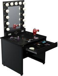 This premium lighted broadway table is an all-inclusive glamor creation station! With 13 large professional quality dimming light bulbs and an easily accessible power outlet, this self-supporting mirror system creates the perfect atmosphere for flawless make up application. $959.00
