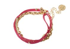 Bracelet chaîne Majique  Cordelette rose Piece/médaillon dorée Finition dorée Longueur réglable http://www.majiquejewellery.fr/summer-2014-collection/bracelets/fb32221-61632.aspx