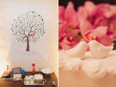 decoração ♥ cada convidado deixa sua digital na árvore pra marcar presença na festa ♥