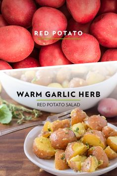 Tender yet firm with skin that's both thin and vibrant red potatoes hold up perfectly in any potato salad. Try this easy and delicious Warm Garlic Herb Potato Salad for a side dish any time of the year. Potato Dishes, Potato Recipes, Vegetable Recipes, Paleo Recipes, Cooking Recipes, The Fresh, Potato Salad, Herb, Vegetarian