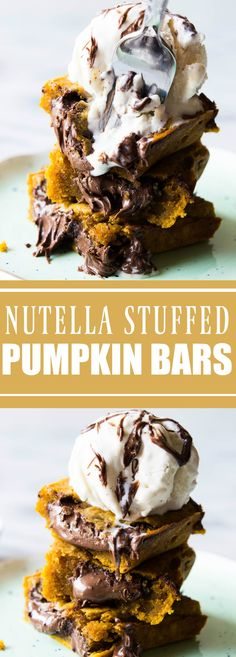 These soft and cake like pumpkin bars are stuffed with chocolate-y nutella and are the perfect treat to celebrate the upcoming holidays! Top with a scoop of ice cream for an ultimate dessert! Pumpkin Recipes, Fall Recipes, Cookie Recipes, Dessert Recipes, Pumpkin Bars, Pumpkin Dessert, Stuffed Pumpkin, Best Comfort Food, Comfort Foods