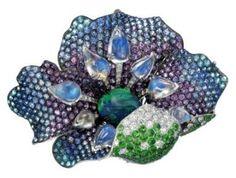 Alessio Boschi gemstone ,gold and diamond flower brooch