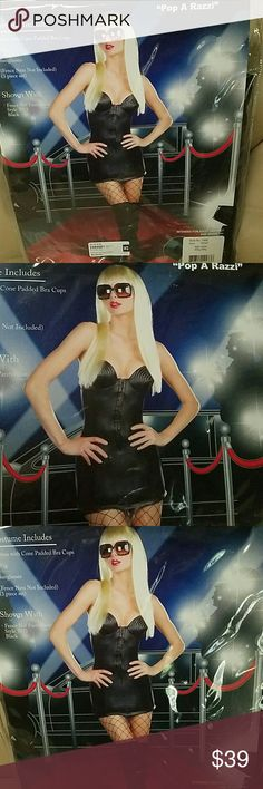 """Dreamgirl """"Pope A Razzi"""" women's costume SEXY Pop A Rozzi..costume Size Small and Medium  Includes - Dress With Cone Padded Bra Cups Wig,sunglasses  Fence Nets and Boots not included  Retail 69.00 Dreamgirl  Other"""