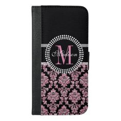 Girly Pink glitter and black Damask Monogrammed iPhone 6/6s Plus Wallet Case - girly gift gifts ideas cyo diy special unique