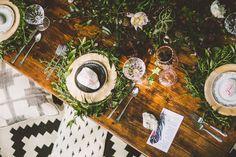 Lakeside bohemian bridal shower | gorgeous, organic centerpiece/tablescape and floral design