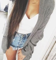 Grey long cardigan, white heart shape crop top and high waisted shorts