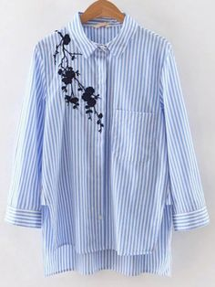 Casual Striped and Plants Shirt Regular Fit Collar Long Sleeve Blue Stripe Embroidery High Low Split Blouse Embroidered Clothes, Embroidered Blouse, Cotton Blouses, Shirt Blouses, Fashion Clothes, Fashion Outfits, Fashion Fashion, Fashion Ideas, Vintage Fashion