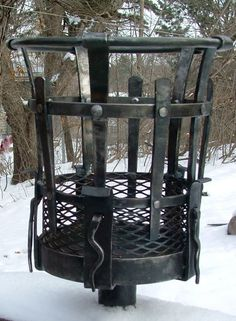 Blacksmith forged outdoor fire pot. Light the path to your castle..