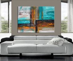 Painting 40 Horizon painting Original Abstract Oil by largeartwork