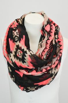 """Neon accent tribal infinity scarf. 39"""" x 35""""."""
