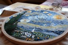 Self-taught embroidery artist Lauren Spark was asked by her mother to create an embroidery of Van Gogh's Starry Night. Over the next month, Spark spent almost 60 hours working on the piece, using the Google Cultural Institute's website to explore extremely high resolution views of the iconic paintin