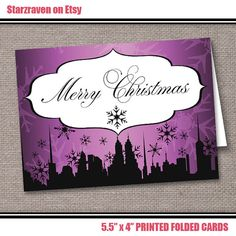 Downtown Purple Merry Christmas Cards