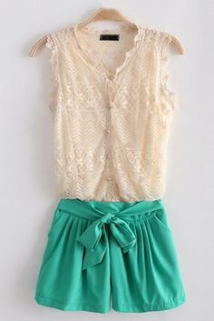 green shorts and lace blouse
