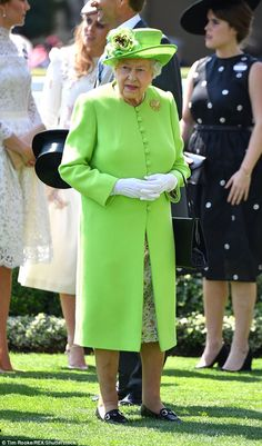 Her Majesty wowed in a series of eye-popping ensembles at Royal Ascot last weekend - and retailer JD Williams have reported a massive sales boost in colourful clothing (pictured: the Queen's green outfit on Day One has sparked a 77 per cent boost in sales of green clothing)