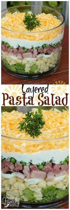 This Layered Pasta Salad is a colorful side dish for BBQ's and potlucks. With layers of ham, eggs, salami, veggies, and cheese, it is hearty and delicious! via @favfamilyrecipz